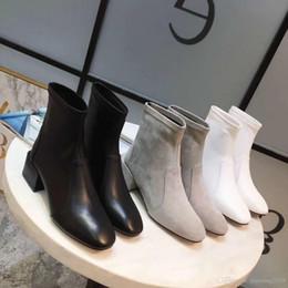 $enCountryForm.capitalKeyWord NZ - genuine leather belt stud pointy flat short boots black women fashion autumn shoes casual