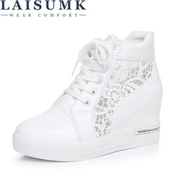 silver lace up Australia - LAISUMK Women Wedge Platform Rubber Brogue Leather Lace Up High heel Shoes Pointed Toe Increasing Creepers White Silver Sneakers MX200425