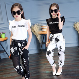 Butterfly Girls T Shirt Australia - Baby Girls' Clothing 2018 Summer New Style Fashion Embroidery Flower T-shirt + Mesh Trousers Sweet Trend Two Sets Y190518