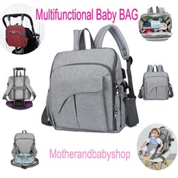 $enCountryForm.capitalKeyWord NZ - Multifunctional Diaper Bag Portable Mommy Backpack With Changing Pad Nappy Tote Bags Stroller Straps USB Charge Large Capacity Motherbag
