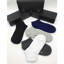 Sock Packs Australia - 5pairs pack New Arrival Letter Men Socks Breathable Cotton Ankle Socks with Stamp Casual Sport Socks for Gift