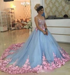 $enCountryForm.capitalKeyWord NZ - Baby Blue 3D Floral Masquerade Ball Gowns 2019 Luxury Cathedral Train Flowers Quinceanera Dresses Prom Gowns Sweety Girls 16 Years Dress