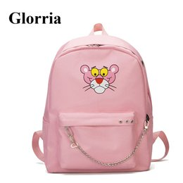styles backpacks Australia - Cute Pink Panther Cartoon Women Backpack Canvas School Backpack For Girls Embroidery Female Travel Backpack Schoolbags MochilaMX190824