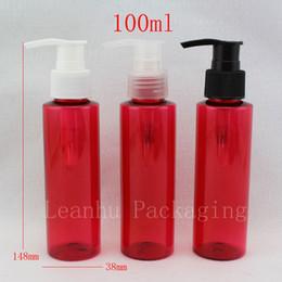 red plastic container pump 2019 - 100ml red colored screw dispenser pump shampoo bottle ,100cc empty liquid soap press pump bottle, cream pump containers
