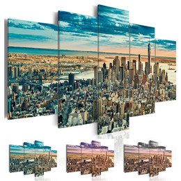$enCountryForm.capitalKeyWord Australia - Fashion Wall Art Canvas Painting 5 Pieces Blue Grey Purple New York Architectural Landscape Modern Home Decoration, No Frame