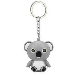 Neue mode niedlichen cartoon mini koala schlüsselbund mit led licht sound kinder spielzeug geschenk dekorieren für telefon case brieftasche schlüssel