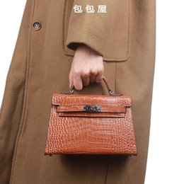 $enCountryForm.capitalKeyWord Australia - Elegant2019 Mini- House Bag Kylie Crocodile Grain Palm Prints Genuine Leather Hand Package Oblique Satchel Woman