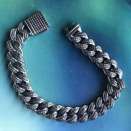$enCountryForm.capitalKeyWord Australia - Hip Hop Cuban Bracelet 12mm Black Iced Out Cuban Chain Link With CZ Bling Iced Bracelet For Men Women Rapper Hip Hop Jewelry