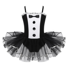 Wholesale tuxedo dancing costume for sale - Group buy Kids Girls Tuxedo Style Adjustable Spaghetti Straps Sequins Mesh Ballet Tutu Dress Gymnastics Leotard Performance Dance Costume