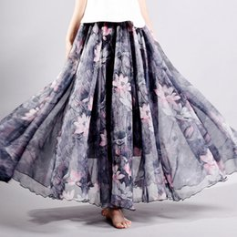 107ed7cff 2018 Summer New Fashion Vintage Bohemia Chiffon Floral Printed Women Boho  Floor-Length Long Maxi Skirt Beach Party Flare