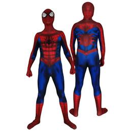 $enCountryForm.capitalKeyWord Australia - Adult Men Kids amazing Spiderman Cosplay Costume Lycar High Quality Muscle Spiderman Superhero Zentai Halloween Party Bodysuit Jumpsuit