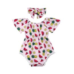 girls fruit clothes UK - Newborn Baby Girls Jumpsuit Headband 2pcs Short Sleeve Fruit Print Cute Bodysuits Outfits Summer Clothes
