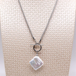 Necklaces Pendants Australia - New OT buckle design baroque pearl pendant necklace square pearl shape durable chain sterling silver cool sports style necklace