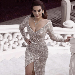 light blue prom dress diamond straps 2019 - Dubai Luxury Silver Sequine Diamond Sexy Deep V-Neck Prom Dresses Long Sleeves Sparkle Evening Gowns Special Occasion Dr