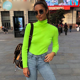 Used t shirts online shopping - T Shirt Herfst Winter Neon Used Coated Long Mouw Women Coltrui T Shirt Fashion Colour Tea Femme