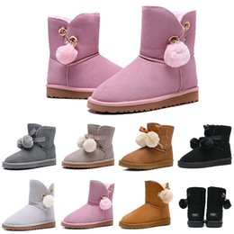 Women booties online shopping - Designer Women Boots Australia Classic Bailey Hairball Bow Tie Snow Booties Ankle Knee Girls Ladies Fashion Winter Boot