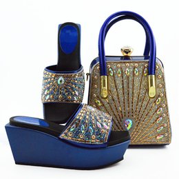 Colorful Rhinestone Wedding Dresses Australia - Beautiful royal blue women boat shoes match handbag set with colorful rhinestone decoration african pumps and bag for dress MD009,heel 9CM
