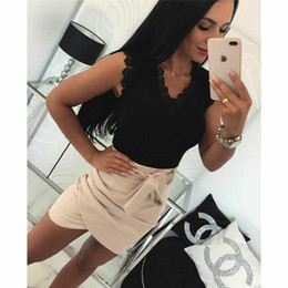 Wholesale hot women out t shirt for sale – custom New Arrival Women Hot T shirt Tops Deep V Neck Female Lace Floral Summer Tops Hollow Out Back Female Sexy Vest Camisole