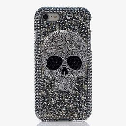 Ingrosso Per iPhone 7 8 Plus Bling Shiny Custodia per ragazza Lady 7 8Plus 6 6S Plus 5 Skull Punk Crystal Diamond Custodia per iPhone X XR XS Max