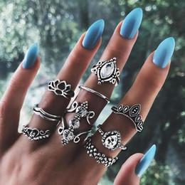 $enCountryForm.capitalKeyWord Australia - 9 Pcs set Women Fashion Water Drop Crown Flower Heart Lotus Gem Crystal Silver Midi Ring Party Wedding Jewelry Gifts