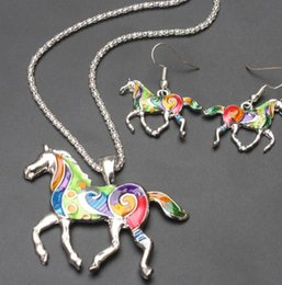 Horse Suit NZ - European and American necklace earrings drop oil rainbow horse suit creative fashion color animal pendant jewelry set Report This product su