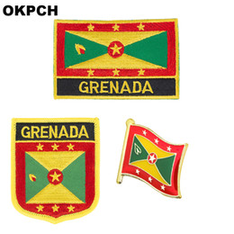 patches badges NZ - Grenada flag patch badge 3pcs a Set Patches for Clothing DIY Decoration PT0068-3