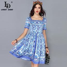 Summer Street Fashion Vintage Dresses Australia - LD LINDA DELLA New Fashion Runway Summer Dress Women's Short Sleeve Casual Vintage Blue and white Printed Dress vestidos T5190615