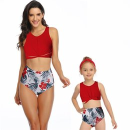 flower bikini woman NZ - Mom Daughter Bikini Mother Girl Flower Swim Wear Women Kids Swimsuit Bathing Beachwear Family Match Outfits Retail S477-1