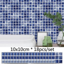 mosaic tile wall art NZ - Blue 3D Mosaic Tile Sticker Bathroom Toilet Decor Waist Line Sticker Kitchen Waterproof Self adhesive Removable Wall Stickers