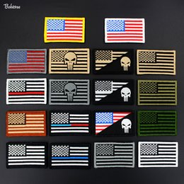 Wholesale military punisher patches resale online - Embroidered Hook Loop US Army American Flag Patches Military Tactical Punisher Badge for Cloth Bags Backpack Stickers