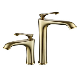 Water Lever UK - brushed gold color brass Single Lever Waterfall Faucet Lavatory Wash Wels Bathroom Mixer water Tap BL698