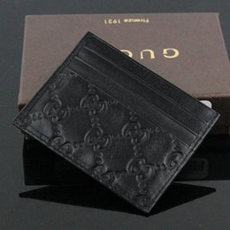 Small coin poucheS online shopping - Hot Sale Genuine Leather Business Small wallet Top Quality Thin Bank ID Card Case Coin Pouch Bag with box