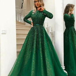 $enCountryForm.capitalKeyWord NZ - 2019 Sexy Arabic Dark Green Long Sleeves Lace A Line Evening Dresses Beaded Stones Top Tulle Floor Length Prom Party Dress Plus Size BC0170