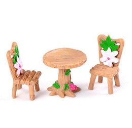 China 3pcs Set Table Chair Resin Craft Micro Landscape Ornament Fairy Garden Miniature Terrarium Figurine Bonsai Decoration cheap bamboo chairs wholesale suppliers