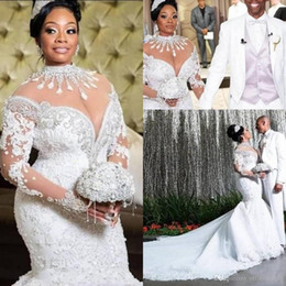 Wholesale long court dresses resale online - Plus Size African Mermaid Wedding Dresses African Arabic High Neck Long Sleeve Lace Beadings Court Train Luxury Bridal Gowns