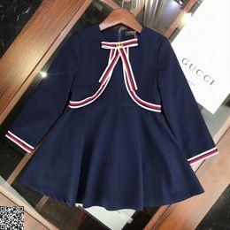 $enCountryForm.capitalKeyWord NZ - Girls dress kids designer clothes round collar stitched lead dress inside pure cotton autumn dress Novelty Preppy Style