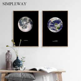 living room art picture abstract NZ - Moon Earth Modern Abstract Painting Nordic Decoration Canvas Poster Wall Art Decorative Print Planet Picture Living Room Decor