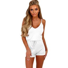 9925f5e6d276 La MaxZa Spaghetti Strap Casual Lace Up Playsuit Female for Women V Neck  Pure Color Short Romper Beach Summer Womens Jumpsuit