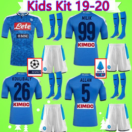 waterproof suit kids NZ - Kids Kit 2019 2020 Naples soccer jerseys Napoli Boys Suit football Shirts 19 20 Children Sets Maglia da calcio MILIK KOULIBALY MERTENS ALLAN