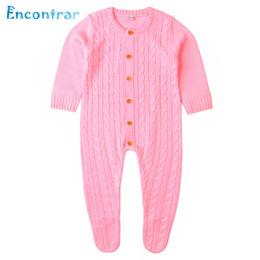 $enCountryForm.capitalKeyWord Australia - Encontrar Baby Girl Solid Knit Rompers Baby Boy's Three Quarter Jumpsuits Summer Infan Foot Package Climb Clothes 6M-24M,DC358