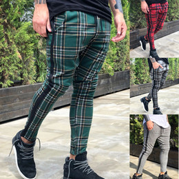Wholesale Men Trousers Pants Fitness Workout Joggers Plaid Sweatpants Red Slim Fit Long Pants With Pockets Size M XL