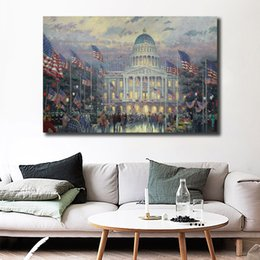 $enCountryForm.capitalKeyWord Australia - Flags Over The Capitol By Thomas Kinkade Wall Art Canvas Posters Prints Painting Wall Pictures For Modern Living Room Home Decor