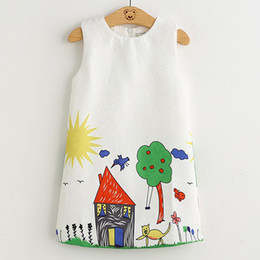 graffiti kids clothes Australia - 2019 Brand New Girl Princess Dress Girls Dresses Kids Clothes Graffiti Print Design Kids Dresses For 3-8y Children Dress Clothes MX190724