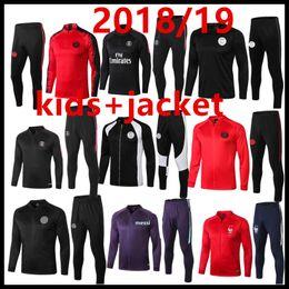 Children s suits boys online shopping - 18 kids Paris Jordam tracksuit psg AJ child jackets Survetement MBAPPE PSG boy maillot de foot football jacket training suit