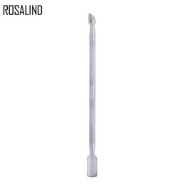 Steel Spoon Pusher Manicure Tool Australia - ROSALIND 1PCS Nail Cuticle Pusher Stainless Steel Nail Art Pedicure Essential 2 Way Spoon cuticle pusher Manicure Care Tools