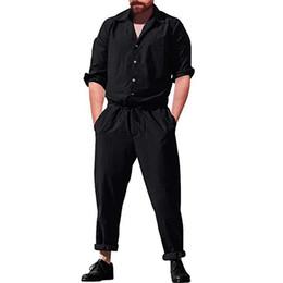 Short jumpSuit men online shopping - Men s Long Romper Sleeve Casual Cargo Pants Jumpsuit Loose Trousers Playsuit Men Casual Jumpsuits Solid Sets