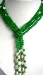 """Indian Scarfs Australia - necklace Free Shipping >>6mm Green jade + White Pearl scarf form necklace 50"""""""