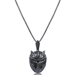 panther chain UK - Black Panther Necklace Fashion Superhero Mask Pendant Charm Statement Jewelry With Zircon Cool Hip Hop Necklace Gift