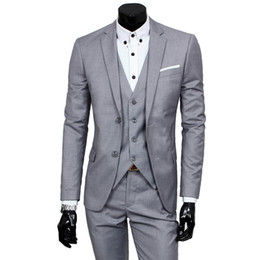 khaki suits blazers Australia - Men Wedding Suit Male 3 Pieces Coats and Pant and Vest Blazers Slim Fit Suits For Men Costume Business Formal Party Vest Sets