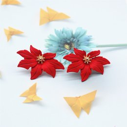 Wholesale 2019 New Design Fashion Jewelry Elegant big The maple Flower Earrings Summer Style Beach Party earring for woman